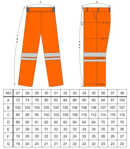 Size Chart Ukuran Celana Wearpack